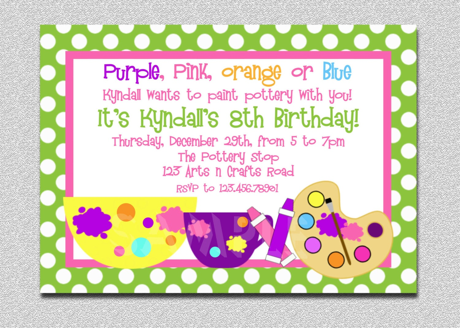 Arts and Crafts Birthday Party Invitation Art Birthday