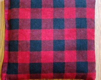 """Corn or Rice Heating Bag- Red and Black Plaid Heating Pad- Ice Pack- Microwavable - Freezable- Approx 8"""" x 10"""""""