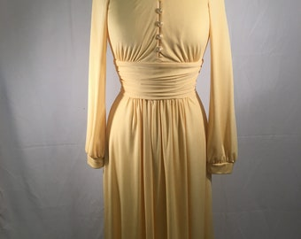 Vintage 1970's Clement Now  Knit Yellow Dress