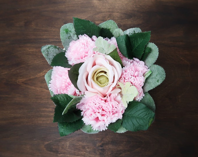 Spring flower box floral mothers day gift pastel pink roses carnations greenery ready to ship home decor gift packed for her