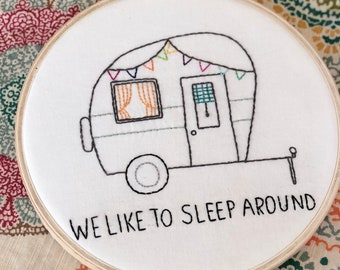 Camper Embroidered Hoop Art Wall Hanging