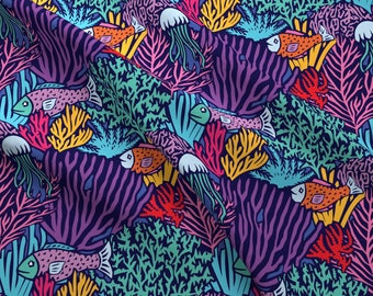 Oceans Fabric - Deep Sea By Cassiopee - Oceans Fish Swim Bright Coral Reef Tropical Fishes Purple Cotton Fabric By The Yard With Spoonflower