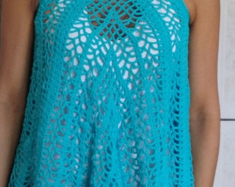 TUNIC BLUE CROCHET