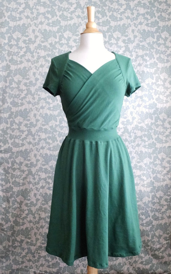 Emerald Green Dress Sweetheart Crossover Cotton Jersey Short Sleeve Full swing ruched nursing top Holiday Party Dress womens clothing
