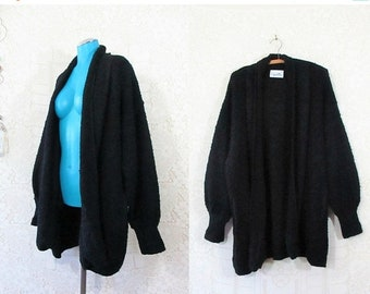 30% OFF FLASH SALE Vtg 90s Oversized Chunky Boucle Knit Open Front Cardigan Sweater || Xl plus size ||