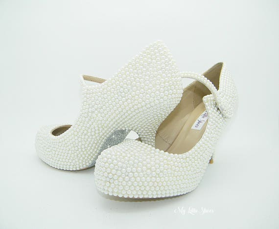 8e850f8ac Pearl heels of Bridesmaid and Shoes Ballroom ~ low wedding Jane Elegant the  Mother White ~ shoes glitter Mary Bridal bride Heels Shoes 8OAxvOE
