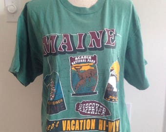 Vintage Maine Acadia National Park late 80s early 90s Tshirt