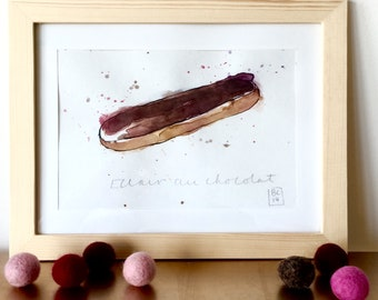 Eclair au Chocolat Illustration - Cake - French Cream Puff Cake - Pastry  - Original Ink and Watercolour on Paper