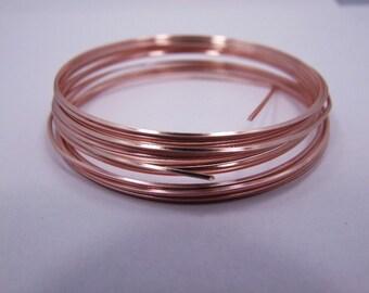 Half Round 18GA Beadsmith Rose Gold Color Non Tarnish  Wire 4 Yards