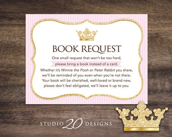 Instant Download Pink Princess Book Request, Pink Gold Crown Book in Lieu of Card, Pink Royalty Baby Shower Book Instead of Card 66A