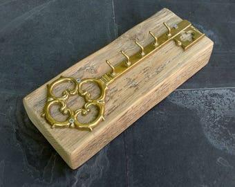 Vintage Decorative Brass Key with 5 Small Hooks