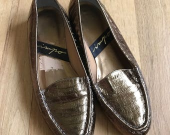 """Vintage """"Impo"""" gold womens slip on loafers size 6"""