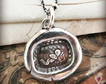 Cupid Wax Seal Charm Necklace - Cupid Necklace - Love Strikes - Cupids Arrow Necklace - E2230
