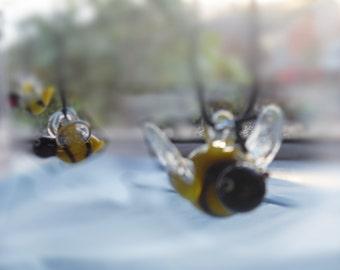 Hanging Bee Ornament, Glass Bee, mini figurine, bee happy, Tiny Bee, Little Bumble Bees, Honey Bee, small gift, cheerful gift,  glass animal