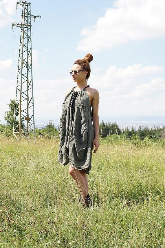 Linen Loose fit Summer Dress, Asymmetric Oversized Dress, Ethno Robe Halter Dress, Boho Robe Neck Dress, XXXL Plus Size Dress