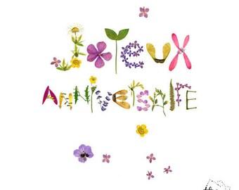 Happy Birthday herbarium pressed flower card, Flower lover, Vegetal card, Cute cards, Floral typography, Flower stationery