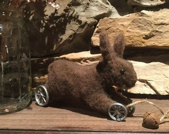 Primitive farmhouse rusty Easter Spring bunny rabbit pull toy