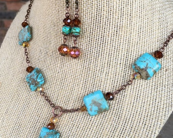 Handmade statement necklace in turquoise, brown and tibetan copper with matching earrings