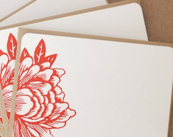 Stationery, Letterpress : Scarlet Red Blossoming Flower Notes, box of 25 small flat cards w personalized envelope color choice