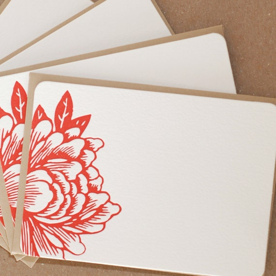 Stationery, Letterpress : Scarlet Red Blossoming Flower Notes, box of 50 small flat cards w personalized envelope color choice