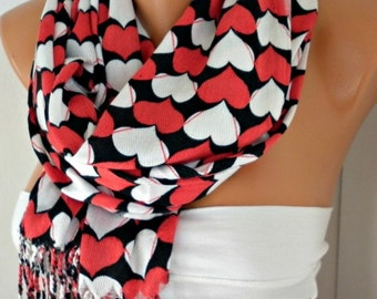 Red White Heart Print Pashmina Scarf,Wedding Scarf, Bridesmaid Gift, Cotton Shawl Cowl Scarf Gift  For Her