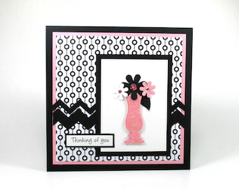Thinking of you cards, handmade thinking of you cards, floral cards, daisy cards, pink, black, white