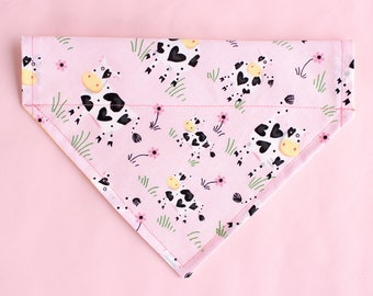 Holy Cow | Cow Dog Bandana | Over the Collar | Reversible Pet Bandana | Dog Scarf | Pink Dog Bandana | Polka Dot Bandana | Spring Bandana