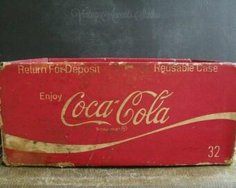 Vintage Coke Cardboard Crate | Coca Cola Box  | Return for Deposit Card Board Case |  Coca Cola Bottling Company Ohio | Advertising Display