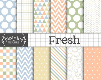 Pastel Digital Paper Pack in Green, Blue, orange and yellow. Polka Dots, Chevrons, Stripes, Triangles, Commercial Use, Digital Download