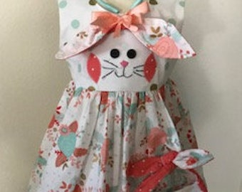 Girls Easter Dress, Girl Bunny Rabbit dress, Easter Purse, Easter Headband, Floral Easter dress, Peach and Mint, Toddler Girl Easter outfit