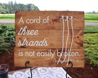 A Strand Of Three Cords Wedding Sign