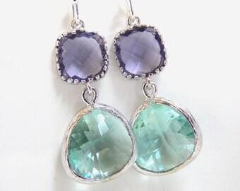 Aqua Earrings, Soft Green Earrings, Light Green, Purple, Amethyst, Silver, Wedding, Bridesmaid Earrings, Bridal Jewelry, Bridesmaid Gifts