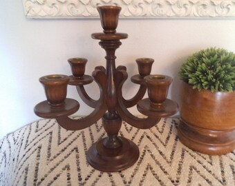 Beautiful Vintage Handcrafted 5 Arm Wooden Candelabra ~ Farm House ~ Jungalow ~ Arts and Craft