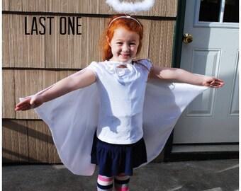 Handmade Child Cape Angel White Satin Costume Angel Wings Christmas Photo Prop Kids Toddler