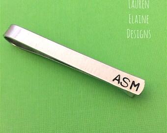 "Custom Skinny Tie Bar- 1/4"" x 2 1/2"" Hand Stamped Aluminum Wedding, Groomsmen, or Best Man Gift- Choose Your Phrase & Font"