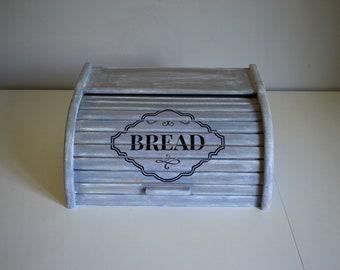 Blue Bread Box-Distressed-Rustic-Country-Shabby Chic- Bread Box Wood-Wooden Bread Box-Vintage-French Style-Bread Bin-Breadbox-Bread Box