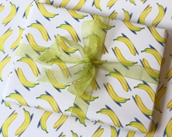 """Banana Wrapping Paper, Giftwrap, Fruit Wrapping Sheets, Banana Giftwrap, Realistic Banana Art, 20X29"""", High Quality Wrapping Paper, Holiday"""
