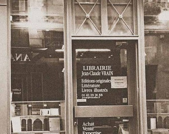 Paris Bookstore Photo, Sepia 5x7 Librarie de Paris, Vintage Paris Bookshop