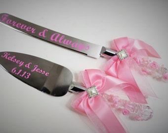 Cake and Knife Serving Set, Wedding Serving Set, Pink Cake and Knife Serving Set, Custom Cake and Knife Serving Set, PERSONALIZED