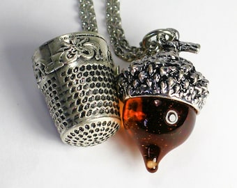 Peter Pan Thimble and Acorn Kiss Necklace SET in Stainless Steel and Amber Glass, Men, Women, Sweetheart, Lover, Sister, Best Friend