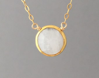 Moonstone Stone Disc Circle Gold Fill Necklace