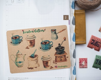 Coffee lover edition- decorative vintage look kraft watercolour planner stickers suitable for any planner -495-