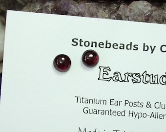 Red Garnet 6mm Round Stud Earrings Earings Titanium Ear Post and Clutch Hypo Allergenic