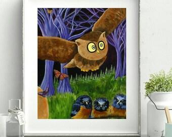 Woodland Owl Print - Flying Bird - Monarch Butterfly - Woodland Owl Nursery - Woodland Creatures - Whimsical Owl Illustration