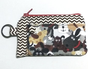 Cute kawaii Dogs, card wallet,  coin purse, portefeuille, women cardholder id173901p2, stamp, hand painted, travel organizer, zipper pouch