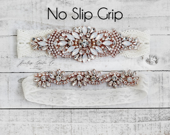 Rose Gold Wedding Garter, Something Blue, NO SLIP Lace Wedding Garter Set, bridal garter set, vintage rhinestones B18RG-CB05RG