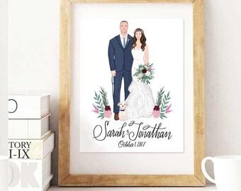Custom Couple Wedding Portrait & Print