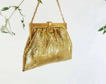 50s Gold Mesh Bag Whiting and Davis Initial H Gold Evening Bag Gold Chain Bag 50s Formal Handbag