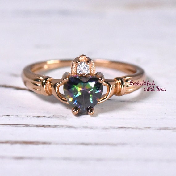 Rose Gold Plated Silver Claddagh Ring Womens Wedding Band