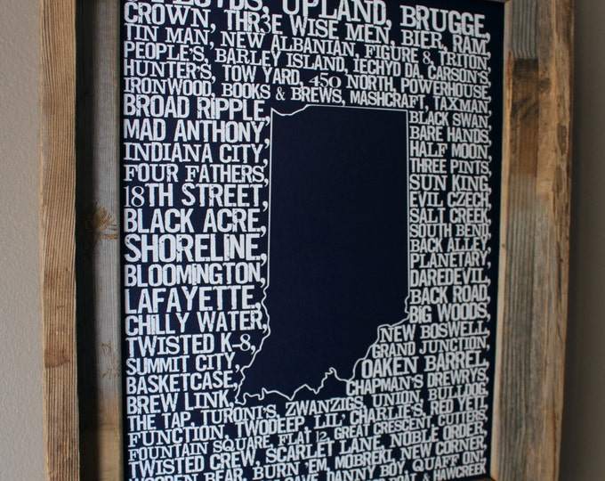 Beers of Indiana Word Map (Dark Blue) - Unframed